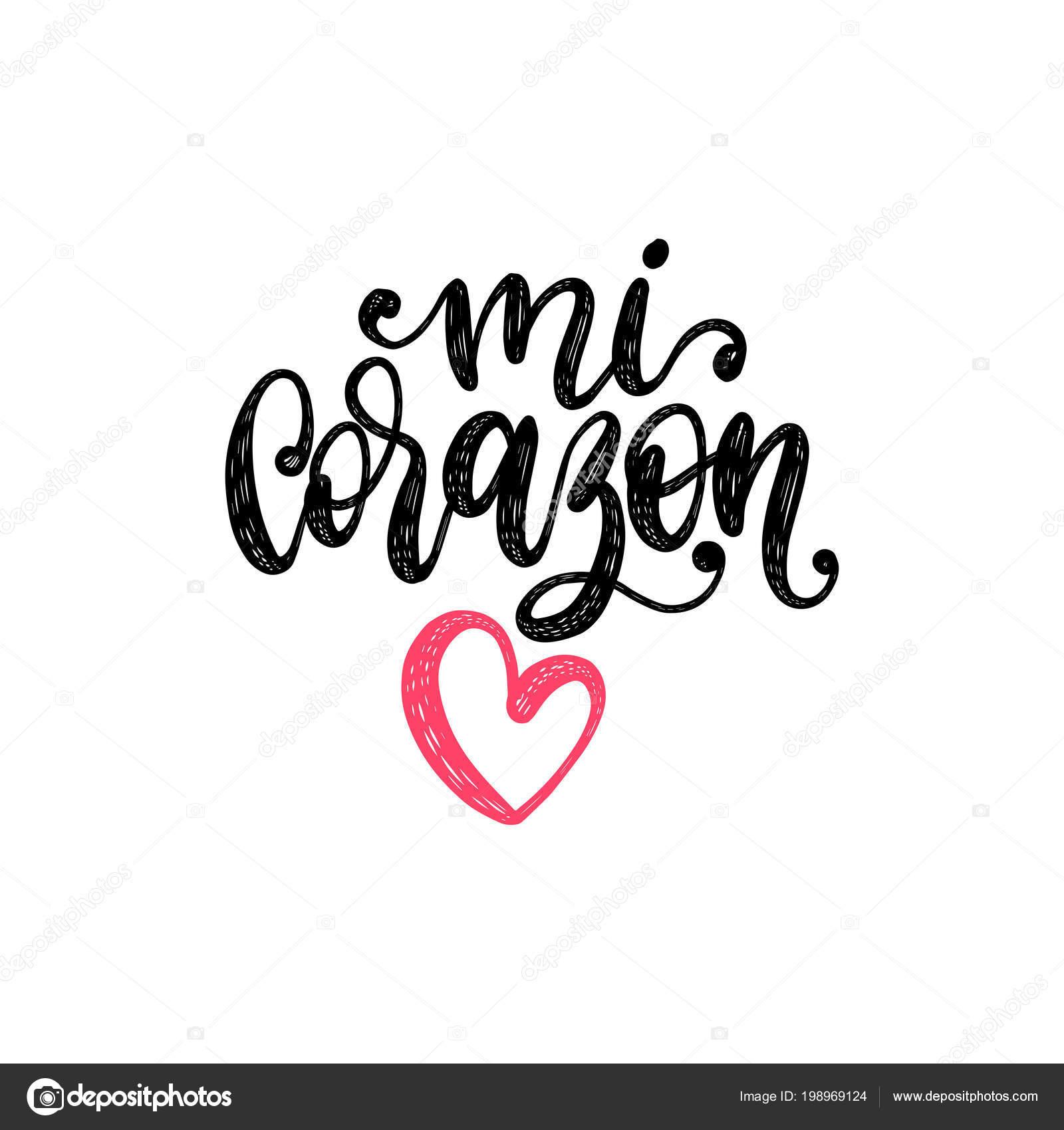 Corazon Letras Mano Del Vector Traduccion Del Espanol Ingles Frase