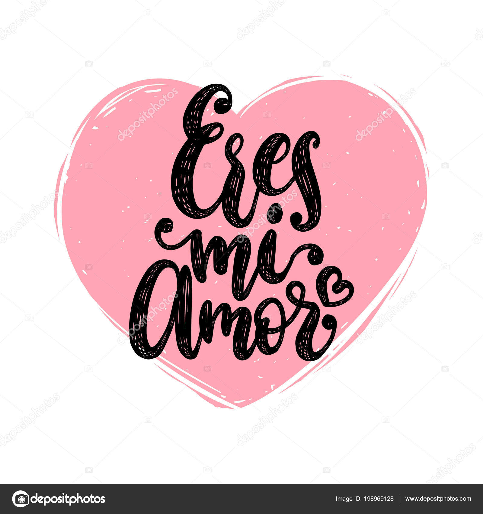 Eres Amor Letras Mano Del Vector Traduccion Del Espanol Ingles