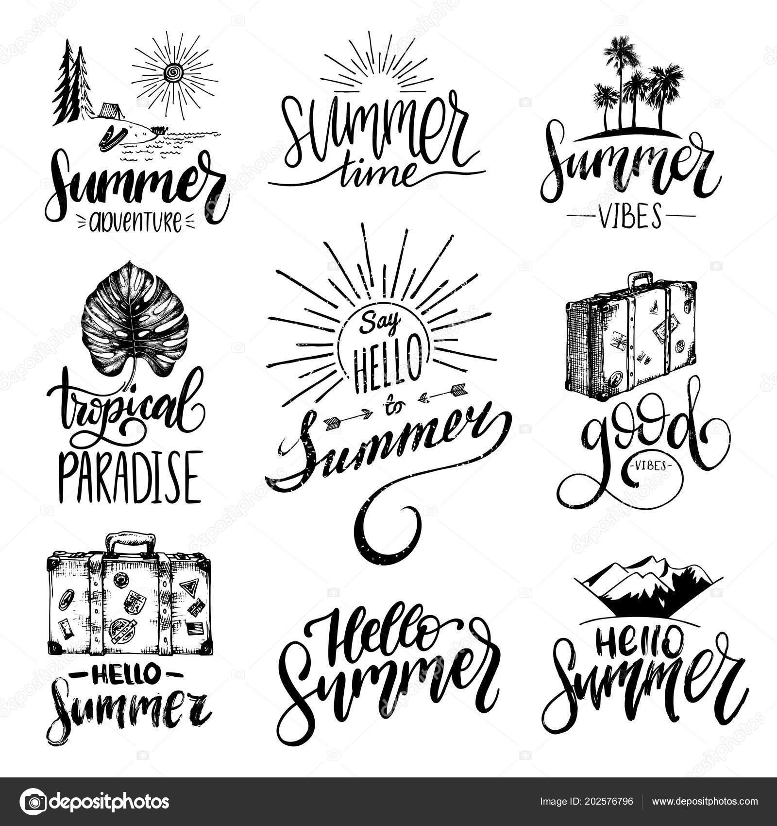 Vector Set Hand Lettering Summer Motivational Phrases Sketches