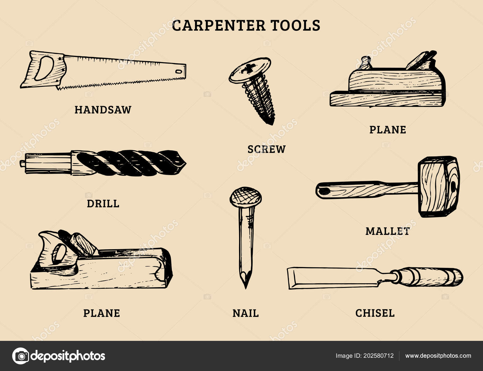 Carpentry Tools Vector Hand Drawn Set Illustration Wood Works