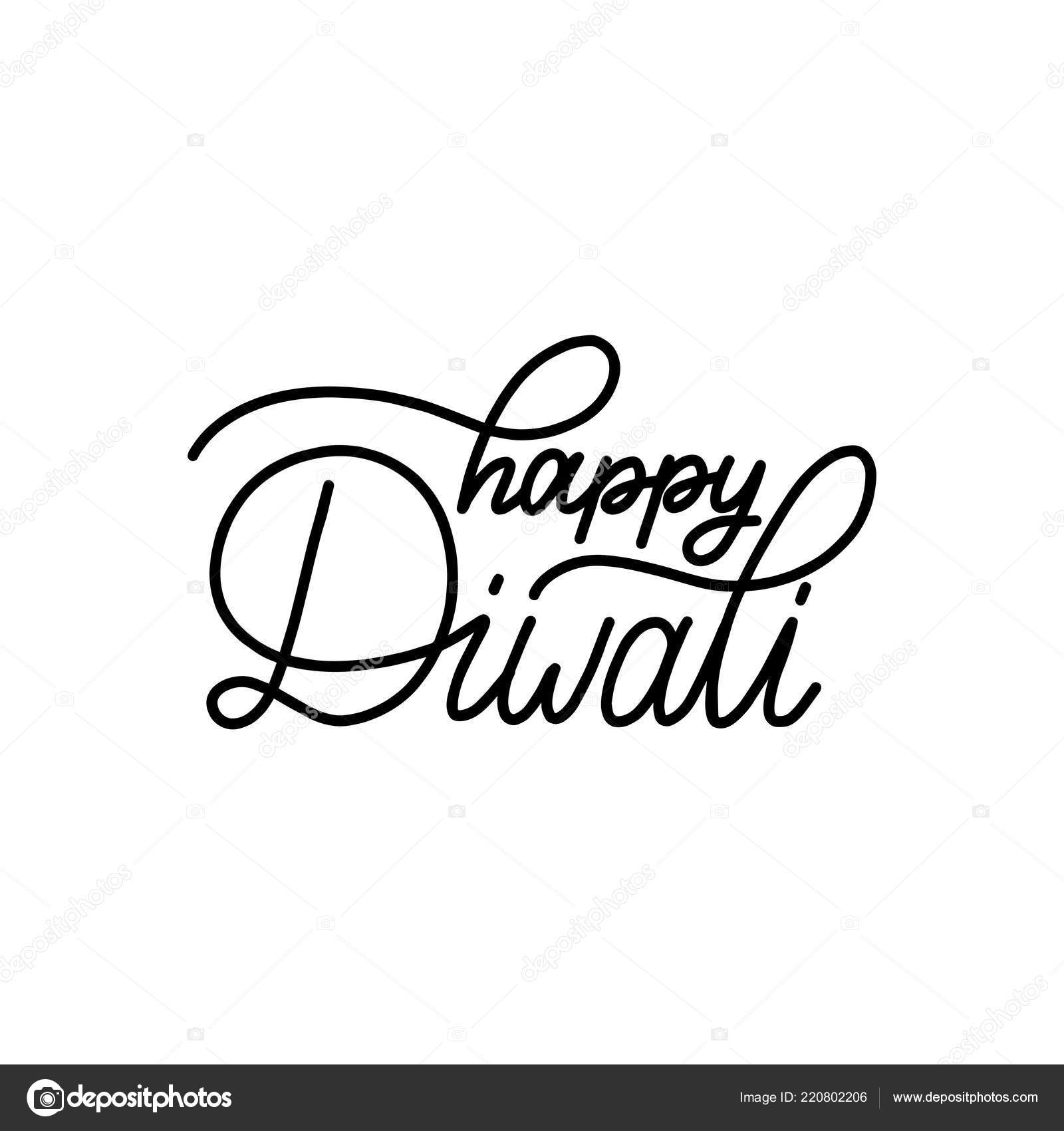 Happy Diwali Hand Lettering White Background Vector