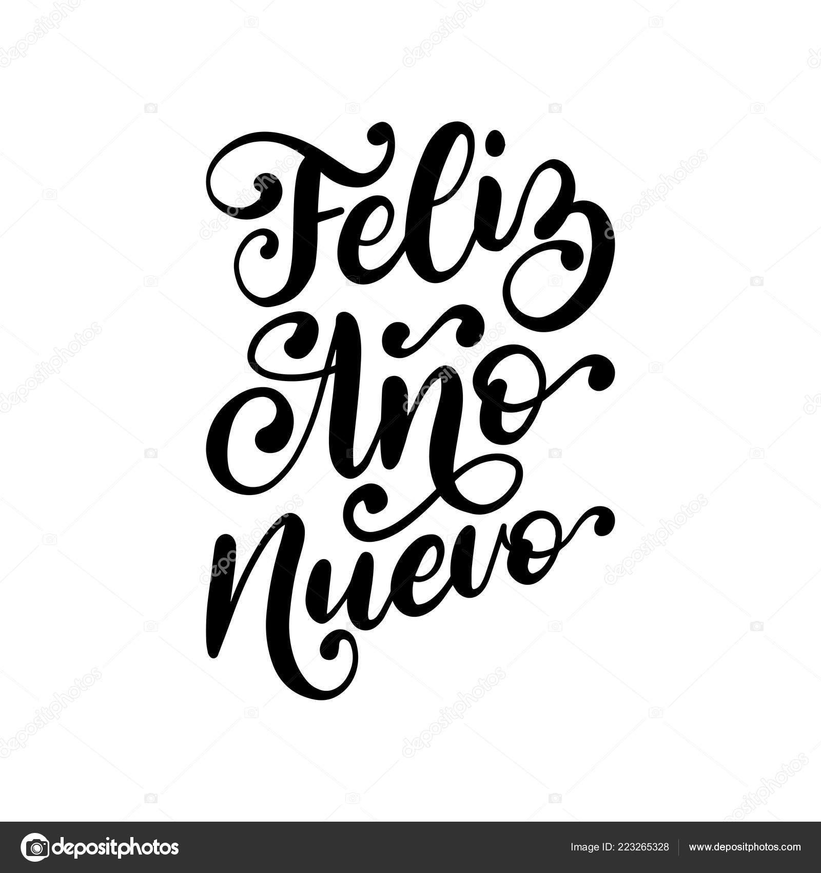 Feliz Ano Nuevo Frase Manuscrita Traducido Español Feliz Año