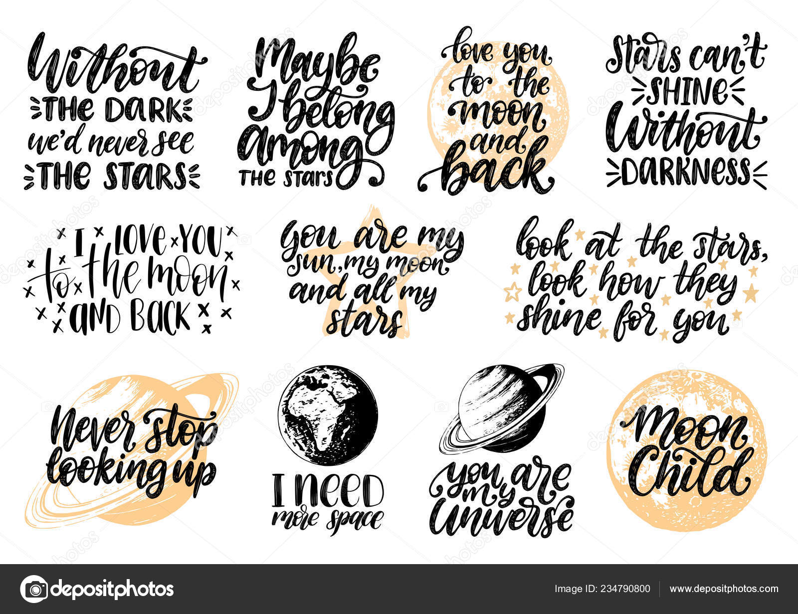 Hand Lettering Motivational Phrases Moon Child Need More ...