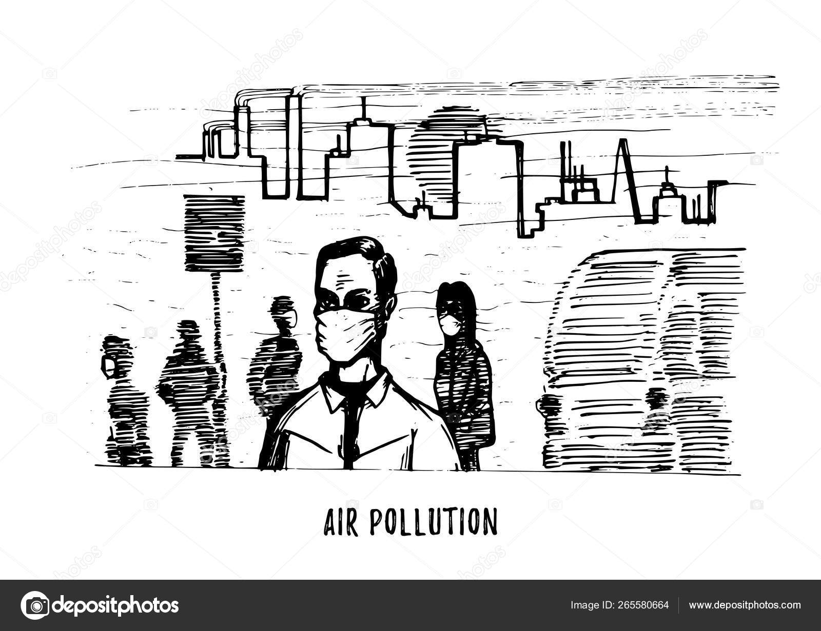 Air pollution hand drawn illustration sketch of smoggy
