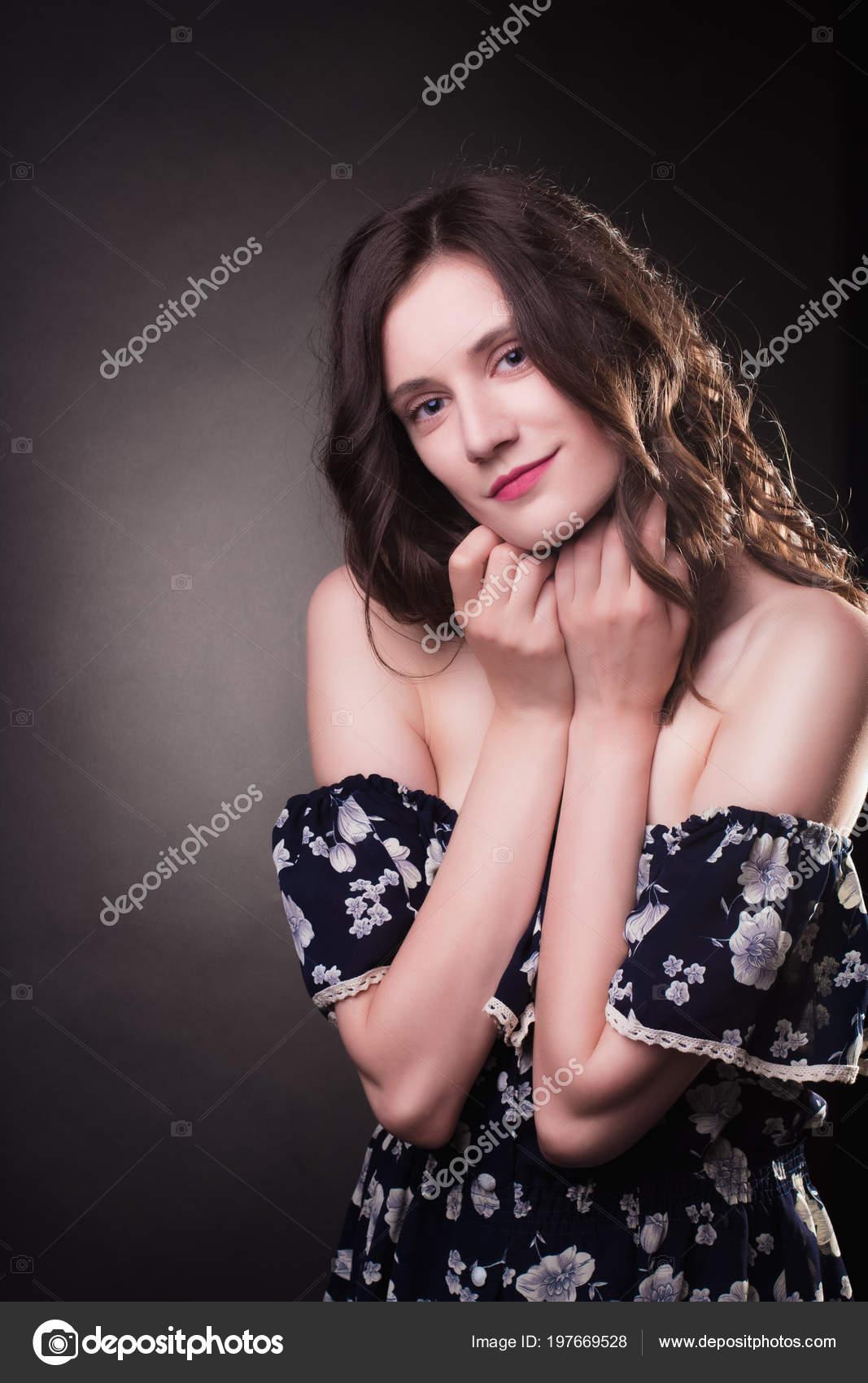 Ang Naked elegant young woman curly hair ang natural makeup wearing