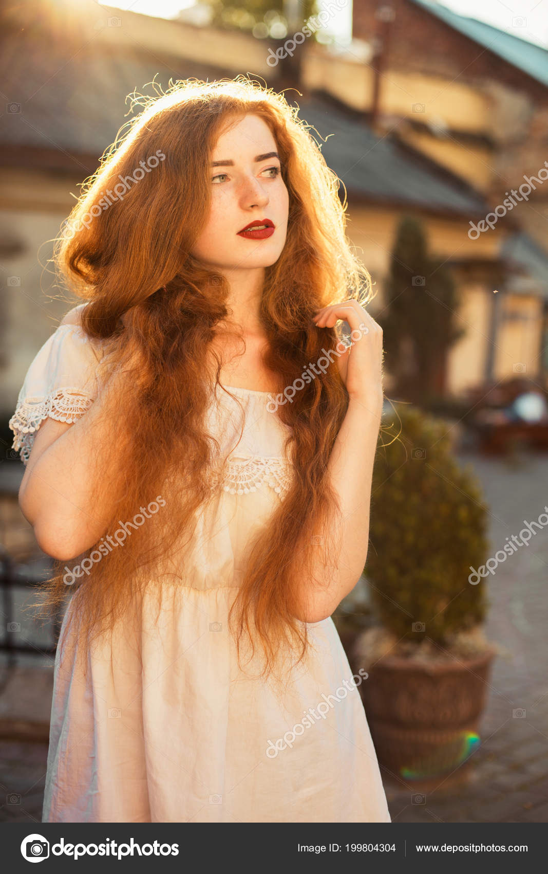 Amazing Ginger Young Woman Naked Long Wavy Hair Posing Sun ...