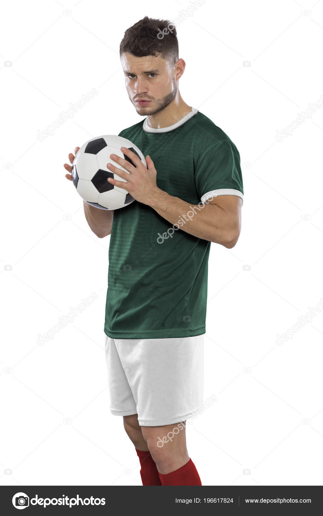 c24805bc3 Young Soccer Player Grass Mexico Green Shirt Ball Hands White — Stock Photo