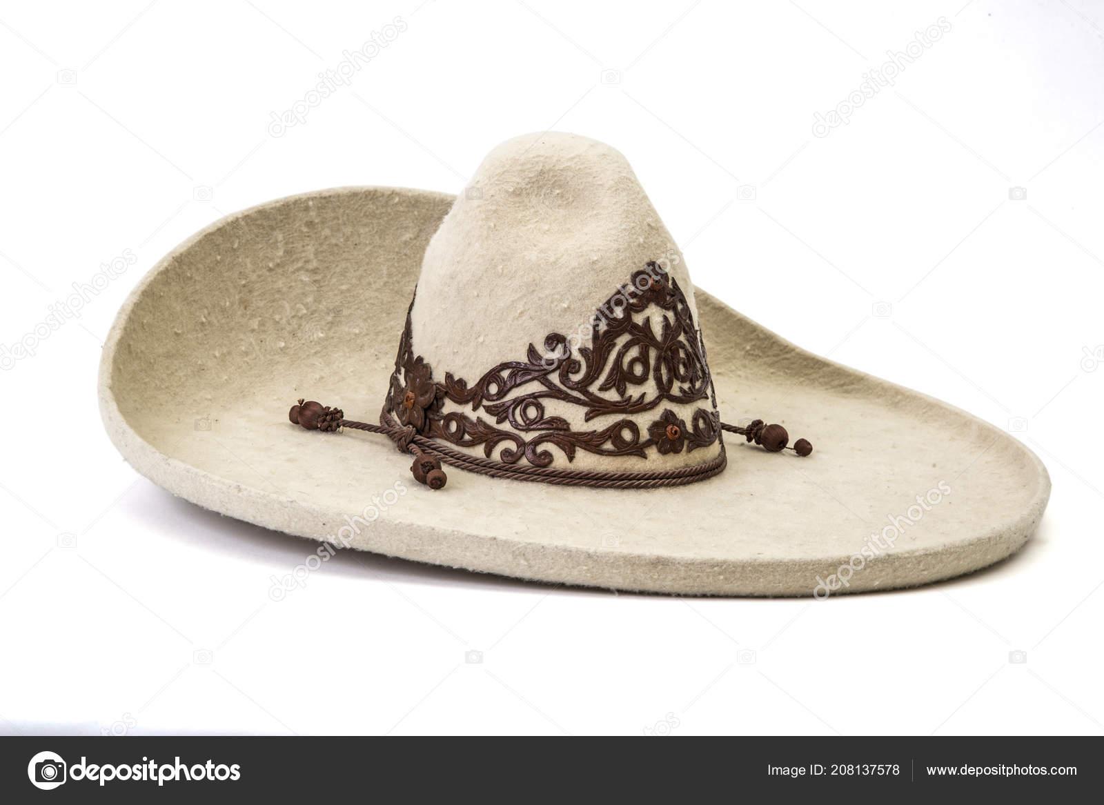 c0336e6e164aa Detalle Textura Del Sombrero Charro Blanco Fondo Blanco — Foto de Stock
