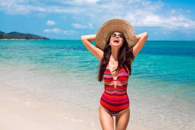 beautiful girl in a swimsuit with ethnic prints, in a straw hat against the blue sea and the beach. Summer vacation, travel, pleasure, joy