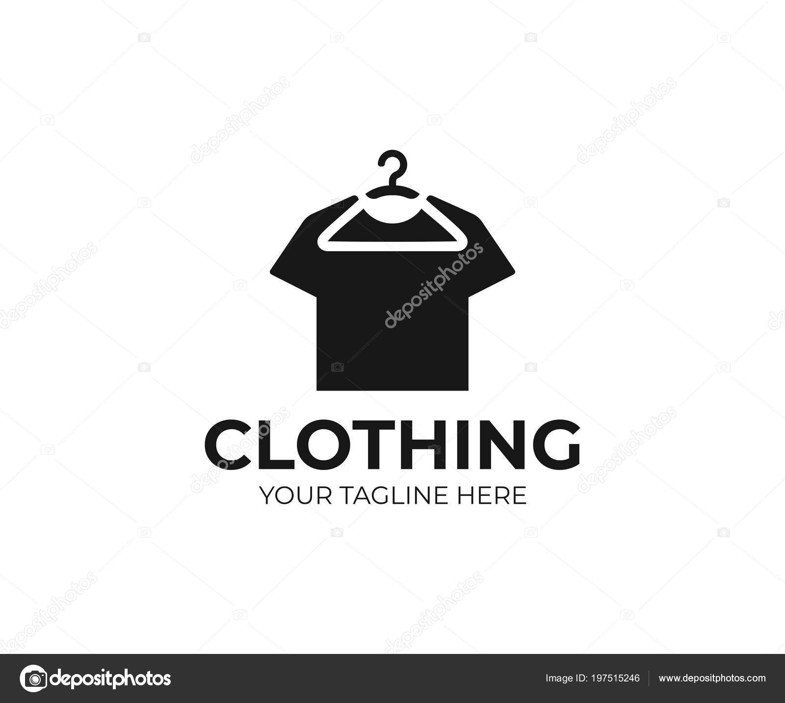 f85f2898 Hanging Shirt Logo Template Hanger Black Shirt Vector Design Clothing — Stock  Vector