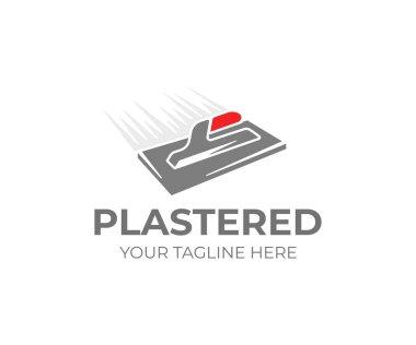 Plastering trowel logo template. Plasterer tool vector design. Plaster work logotype