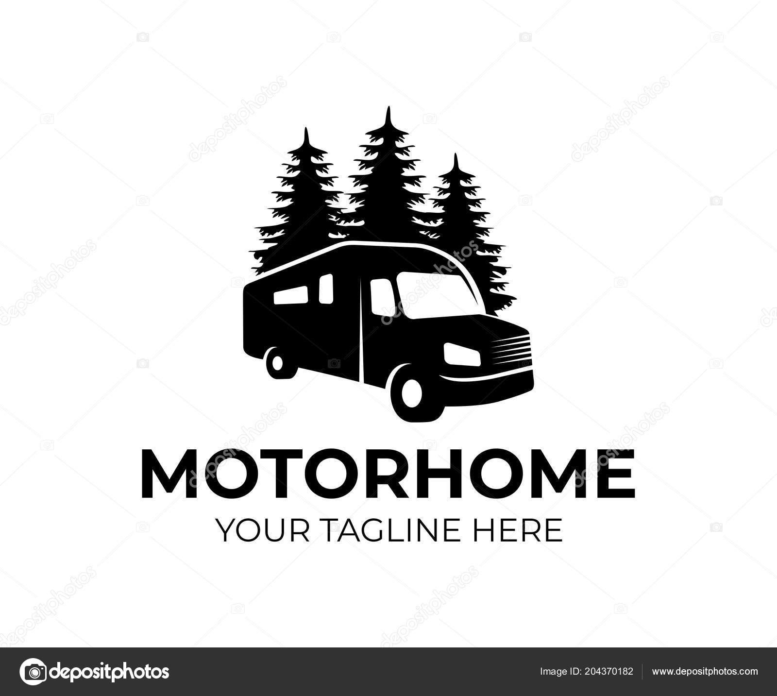 motorhome recreational vehicle camper car logo template vacation