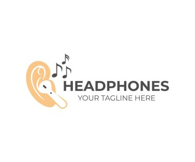 Wireless headphones in ears with musical notes around, logo design. Music, sound and device, vector design and illustration clip art vector