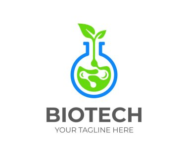 Biotech logo design. Biochemistry connections vector design. Laboratory flask with plant logotype