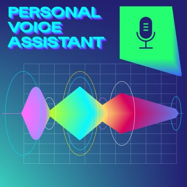 Personal Assistant and Voice Recognition Vintage Concept of Sound Wave Intelligent Technologies. Microphone Button on a Button with Bright Voice and Sound Imitation and Record Waves
