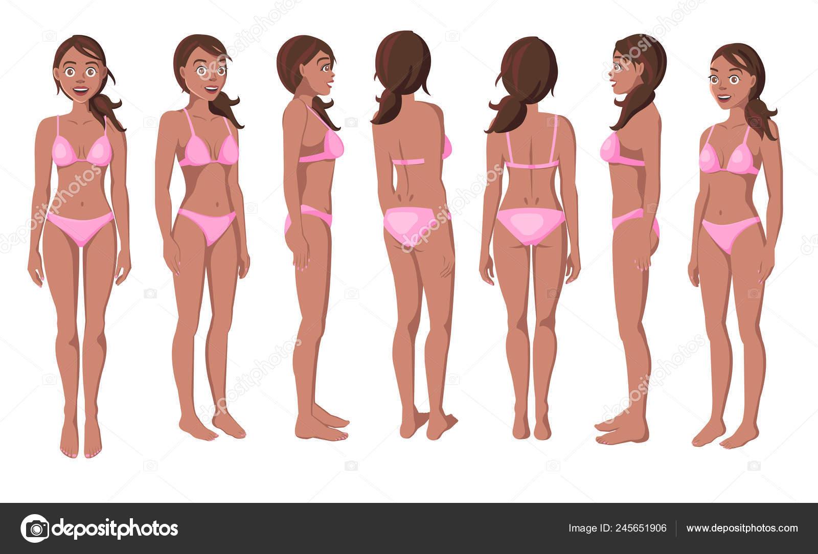 Vector Rosa Mujeres Sonrientes Bikini Sobre Ilustración Fondo Blanco 54qSAcj3LR