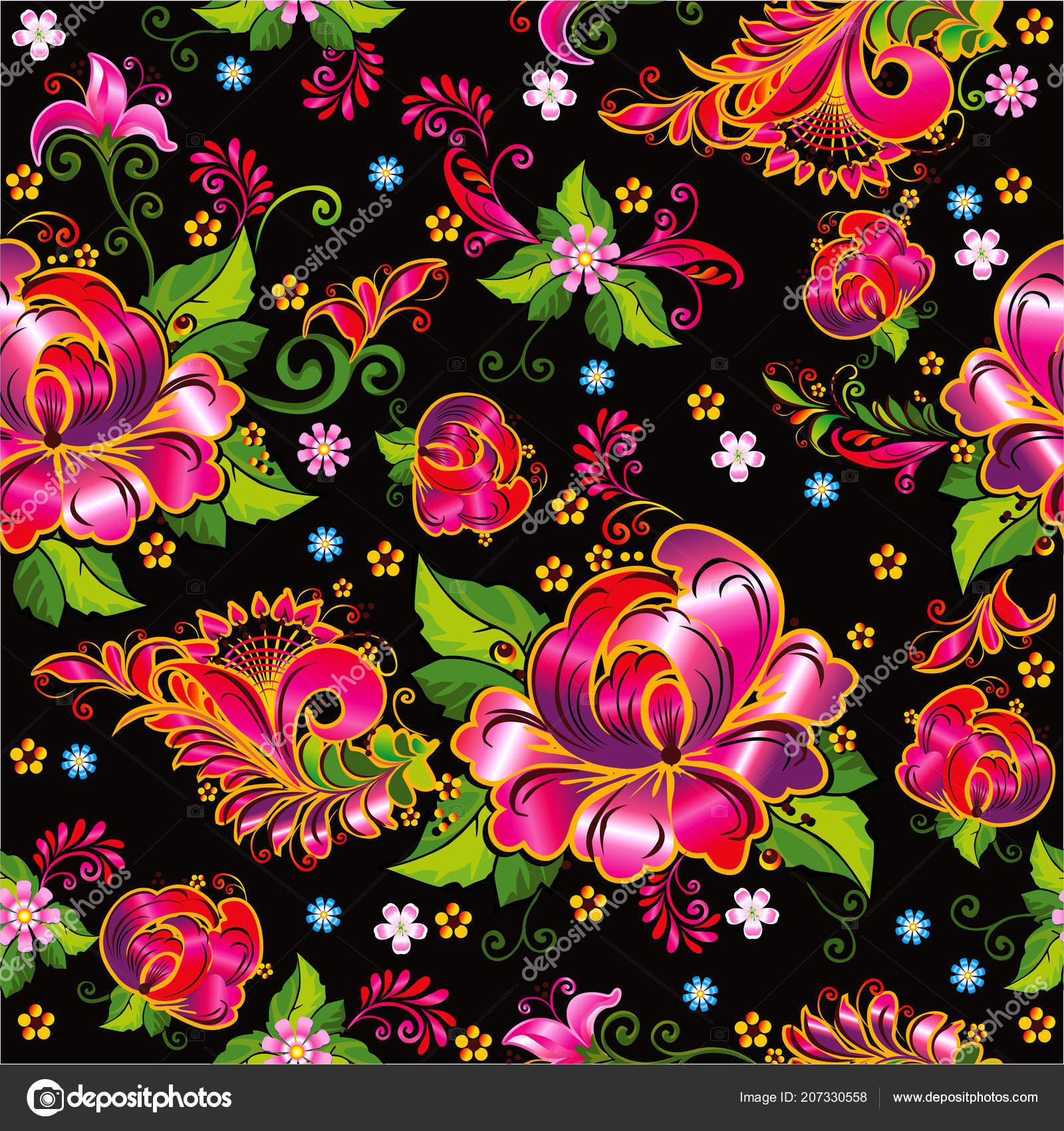 Beautiful Flowers Printing Fabric Paper Creating Fashion Design Interiors Seamless Stock Vector C Veta Kz 207330558