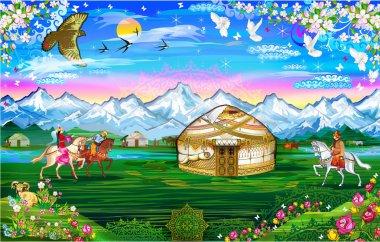 Landscape, road to home, village, homeland, wedding, beautiful girls, Kazakh girls, dance of brides, dancing girls, homeland, yurt, Kazakh yurt, white road, path of happiness, beautiful dalina, jalau, fairytale world, Kazakh fairy tale, wedding