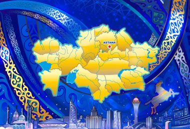 Qazaqstan, Emblem of Kazakhstan, Flag, Symbol of the Republic of Kazakhstan. use for screensavers and prints in printing