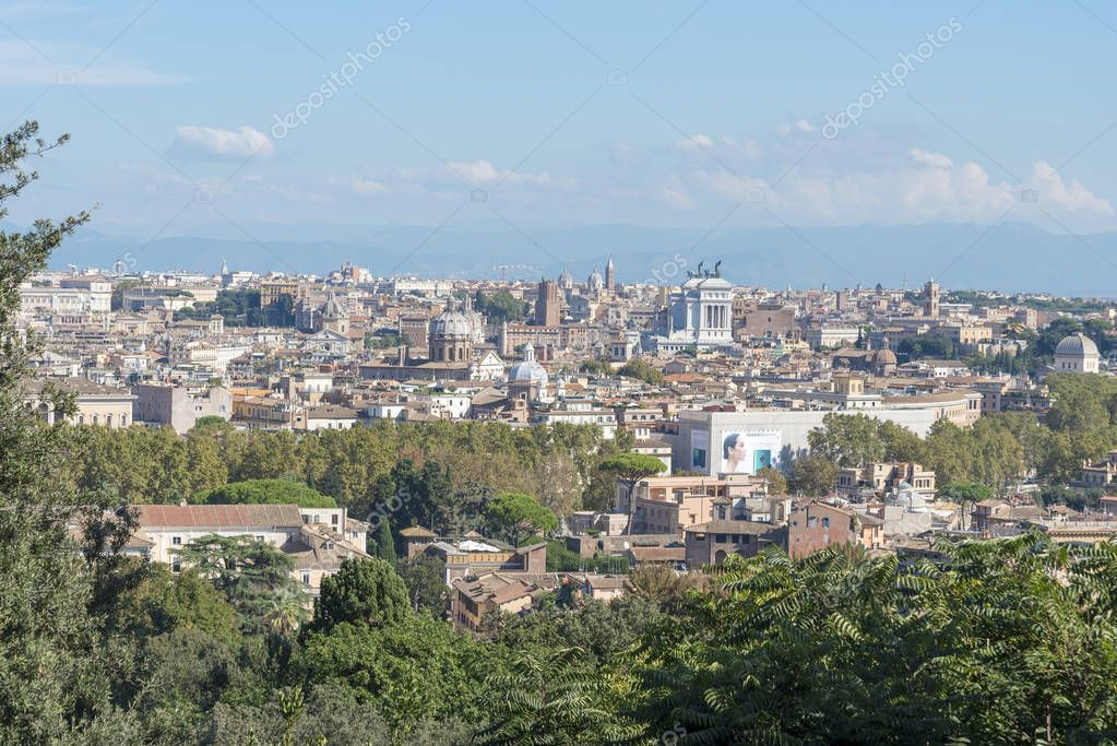 Aerial panoramic cityscape of Rome, Italy. Sights of Rome in Italy.