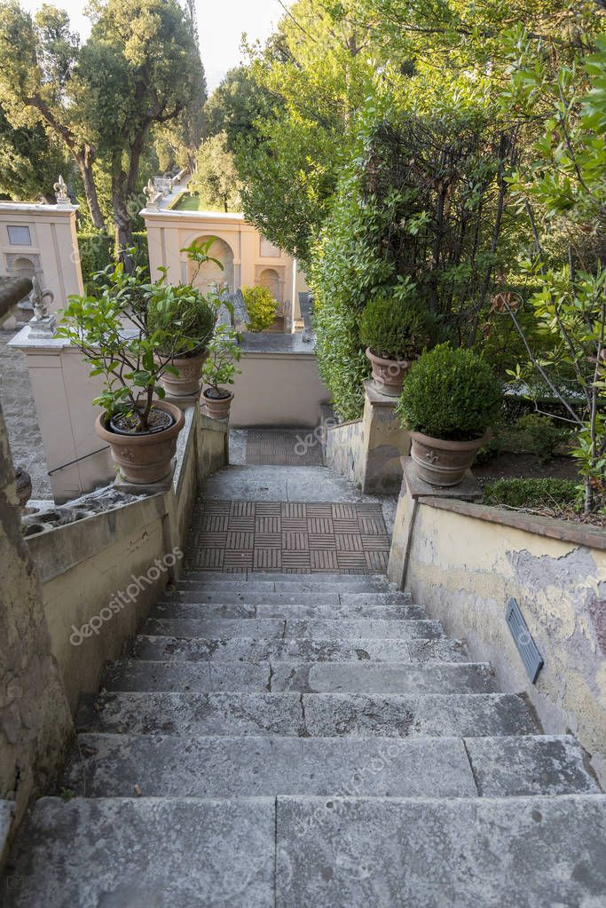 Stairs to Villa d'este in Tivoli. the view from the top. The attraction of the city in Italy.