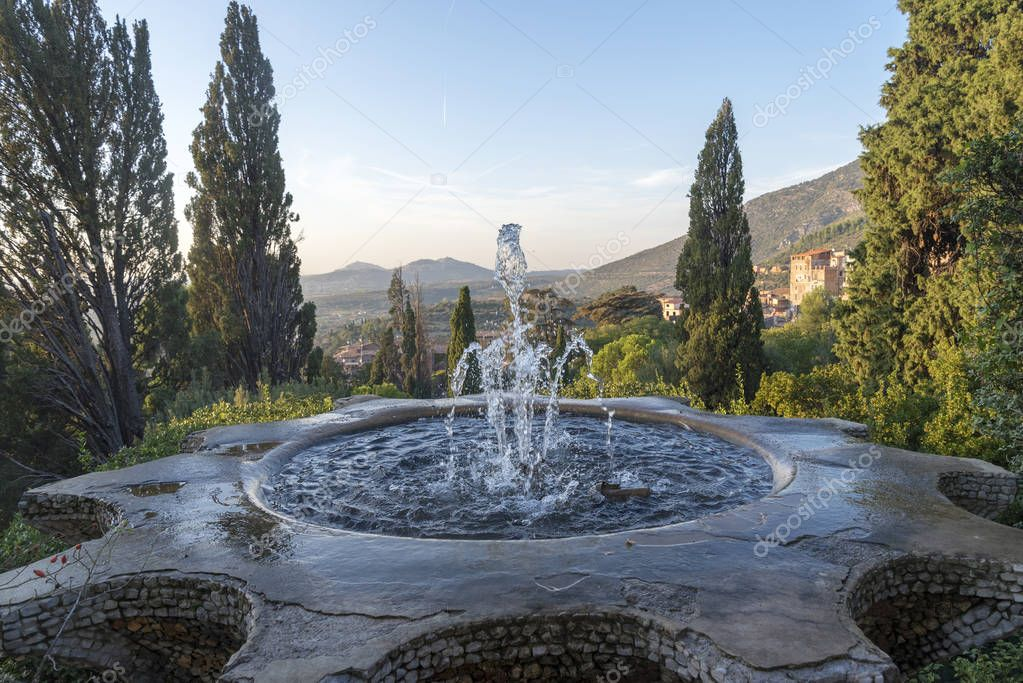 The Bicchierone fountain, an iconic place in Villa D'este, Tivoli, Italy. Attraction of the city of Tivoli.