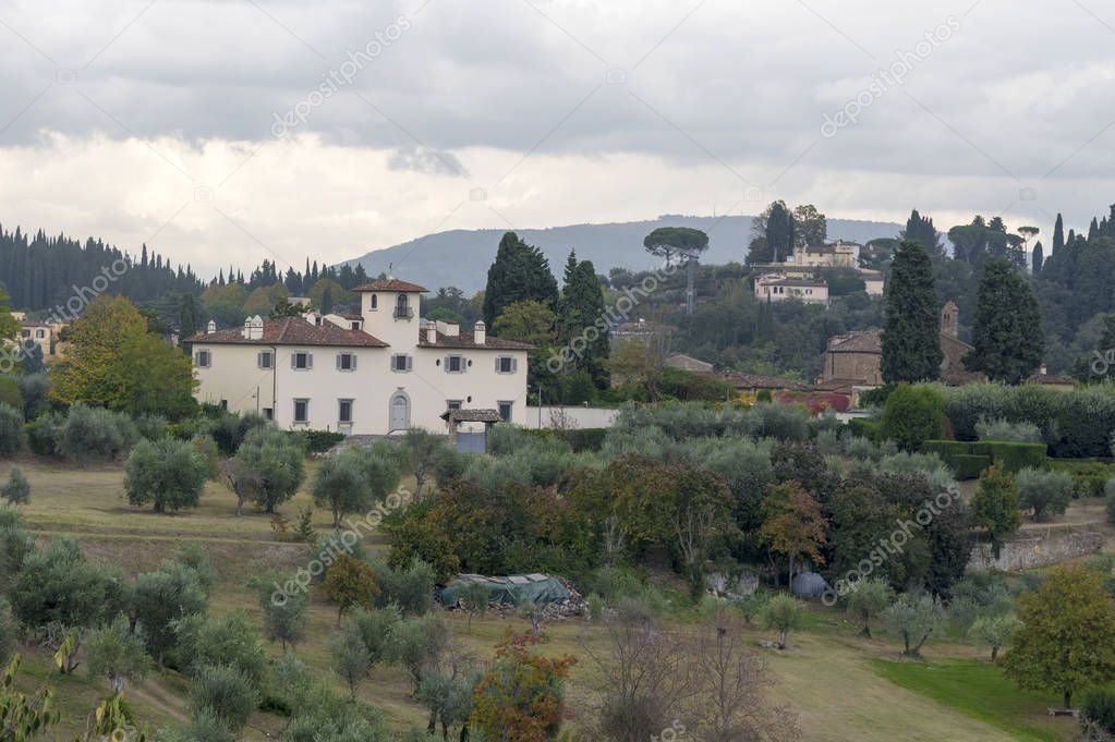 Beautiful landscape from above, a panorama of the historical view of Florence from the point of Boboli gardens. The views of the house from the Boboli gardens.
