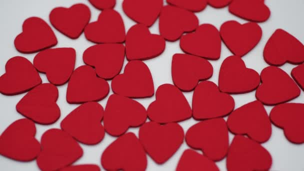 Spinning hearts on a white background, the concept of romance and love. Valentine day