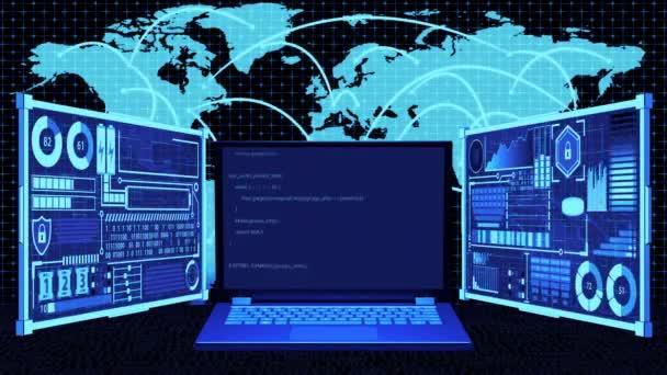 3D vykreslování notebook s kódování na obrazovce a futuristické HUD na pozadí připojení na mapu světa v Hacking / Programming spojuje světový koncept