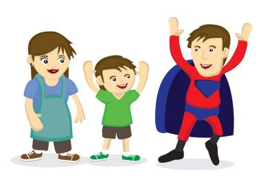 Man dressing up as a super hero to inpressive his son. Concept of family bonding between the father and son. Vector cartoon illustration. clip art vector