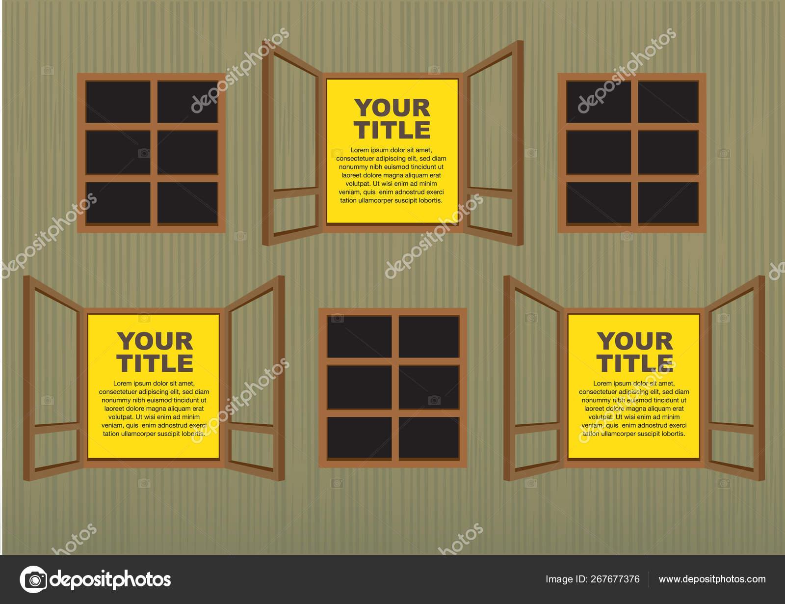 Wooden window layout designs. — Stock Vector © hofred #30