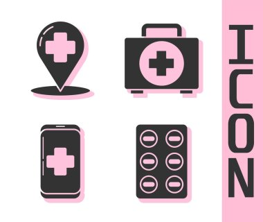 Set Pills in blister pack, Map pointer with cross hospital, Emergency mobile phone call to hospital and First aid kit icon. Vector icon