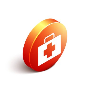 Isometric First aid kit icon isolated on white background. Medical box with cross. Medical equipment for emergency. Healthcare concept. Orange circle button. Vector Illustration.