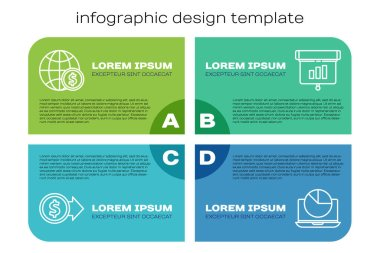 Set line Coin money with dollar, Earth globe with dollar, Laptop with graph chart and Graph, chart, diagram, infographic. Business infographic template. Vector.