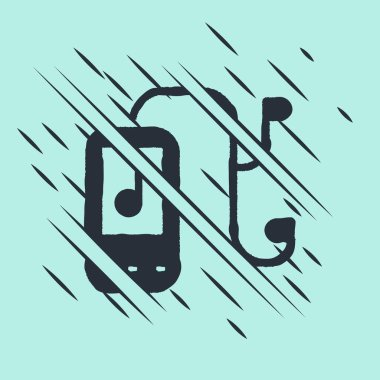 Black Music player icon isolated on green background. Portable music device. Glitch style. Vector Illustration.