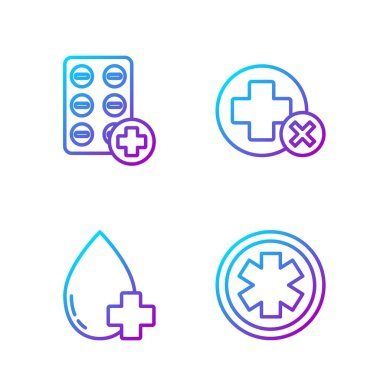 Set line Medical symbol of the Emergency, Donate drop blood with cross, Pills in blister pack and Cross hospital medical. Gradient color icons. Vector. icon