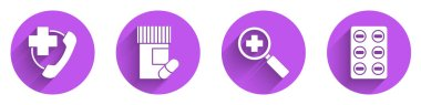 Set Emergency phone call to hospital, Medicine bottle and pills, Magnifying glass for search medical and Pills in blister pack icon with long shadow. Vector. icon