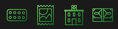 Set line Medical hospital building, Pills in blister pack, LSD acid mark and Stacks paper money cash. Gradient color icons. Vector. icon
