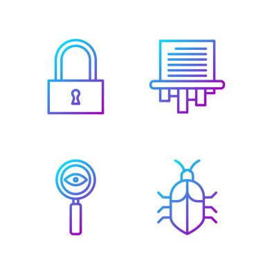 Set line System bug concept, Magnifying glass Search, Lock and Paper shredder. Gradient color icons. Vector.