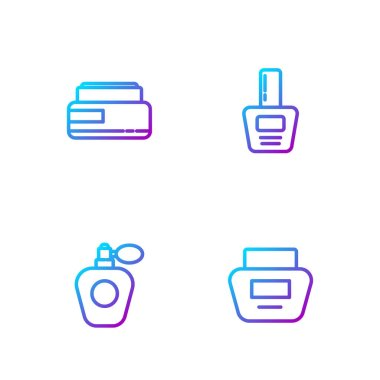 Set line Cream or lotion cosmetic tube, Perfume,  and Nail polish bottle. Gradient color icons. Vector.