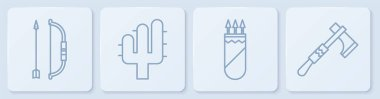 Set line Bow and arrow in quiver, Quiver with arrows, Cactus and Tomahawk axe. White square button. Vector.