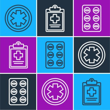 Set line Medical symbol of the Emergency, Pills in blister pack and Medical clipboard with clinical record icon. Vector. icon