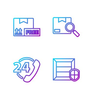 Set line Delivery pack security with shield, Telephone 24 hours support, Cardboard box with free symbol and Search package. Gradient color icons. Vector. icon