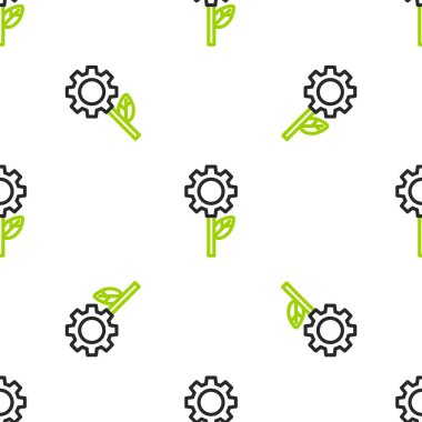 Line Leaf plant ecology in gear machine icon isolated seamless pattern on white background. Eco friendly technology. World Environment day label.  Vector Illustration.