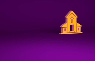 Orange Church building icon isolated on purple background. Christian Church. Religion of church. Minimalism concept. 3d illustration 3D render.