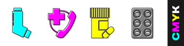 Set Inhaler, Emergency phone call to hospital, Medicine bottle and pills and Pills in blister pack icon. Vector. icon