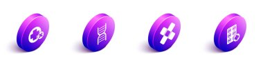 Set Isometric Cross hospital medical, DNA symbol, Crossed bandage plaster and Pills in blister pack icon. Vector. icon