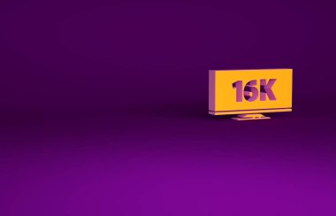 Orange Screen tv with 16k Ultra HD video technology icon isolated on purple background. Minimalism concept. 3d illustration 3D render