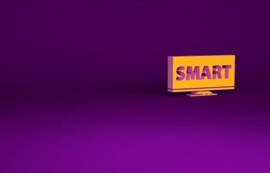 Orange Screen tv with Smart video technology icon isolated on purple background. Minimalism concept. 3d illustration 3D render