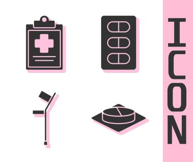 Set Medicine pill or tablet, Medical clipboard with clinical record, Crutch or crutches and Pills in blister pack icon. Vector. icon